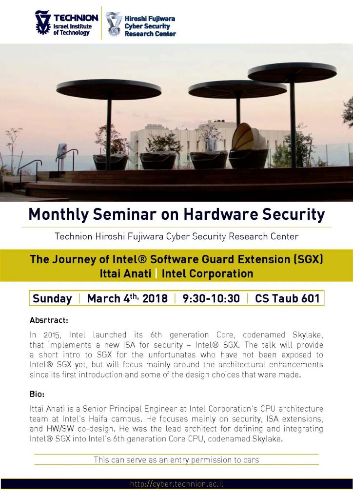 Monthly Seminar on Hardware Security