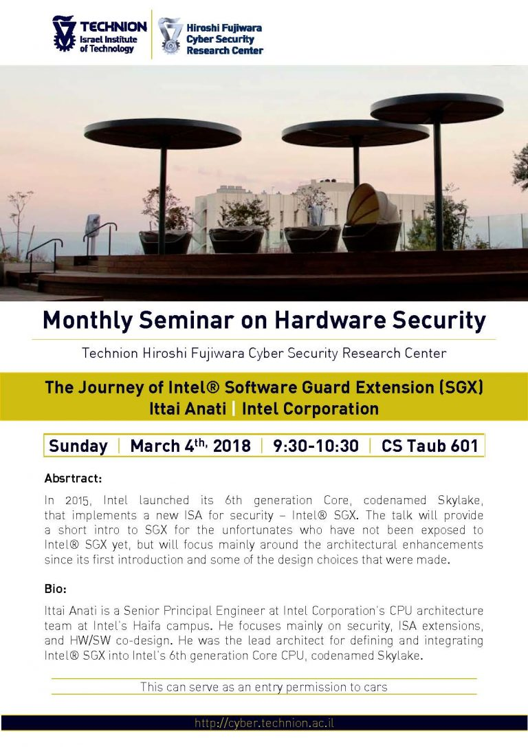 Monthly Seminar on Hardware Security- 03.04.2018
