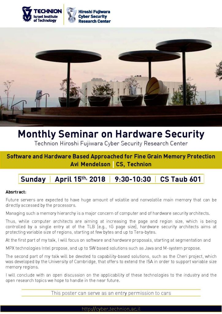 Monthly Seminar on Hardware Security- 15.04.2018