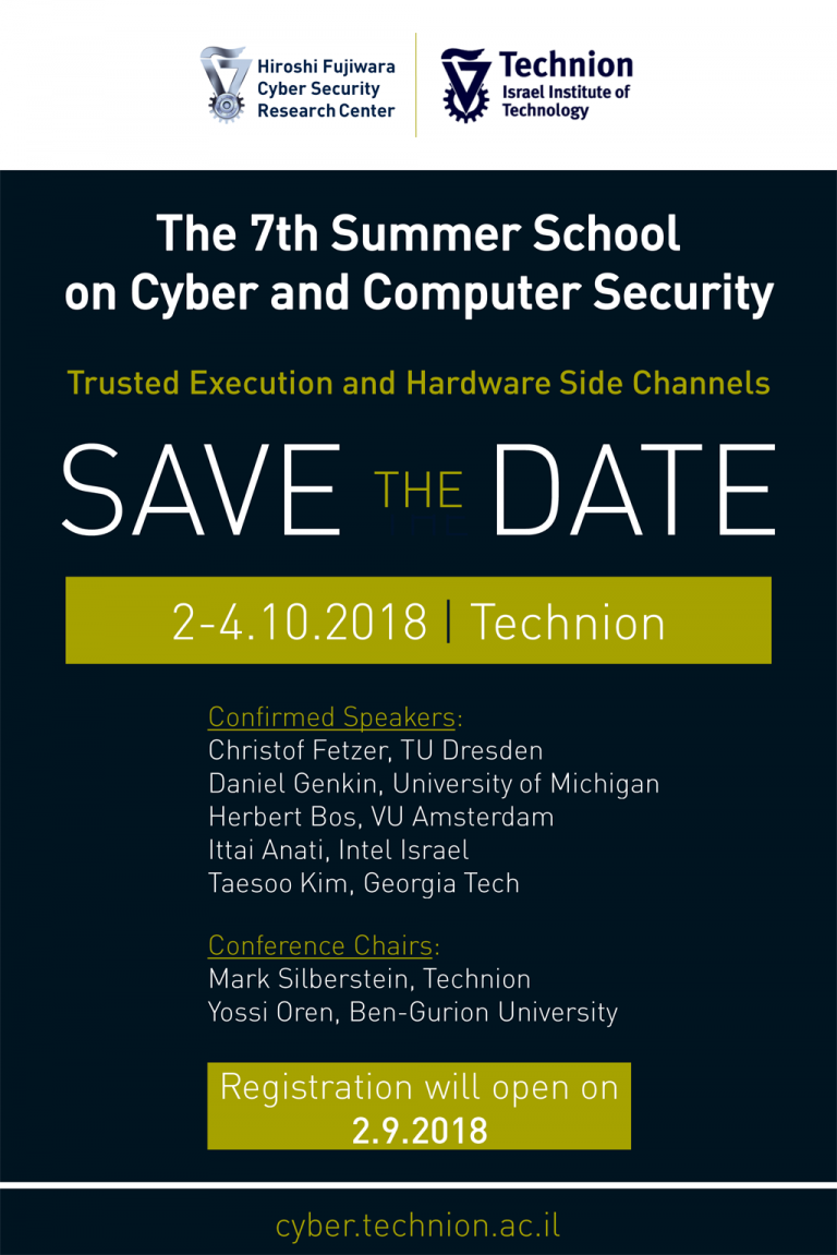 Save the Date – The 7th Technion Summer School on Cyber and Computer Security